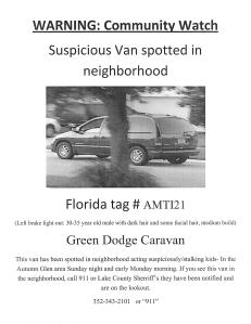 Community Alert about a suspicious vehicle