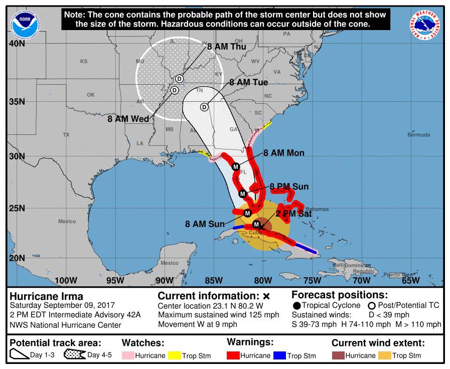 Hurricane Irma Saturday 2 PM