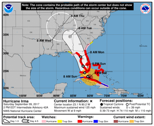 Hurricane Irma Saturday 2 PM